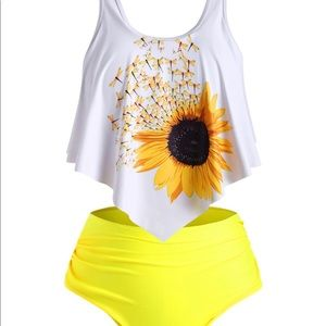 Overlay Flounces Ruched Sunflower Tankini Swimsuit